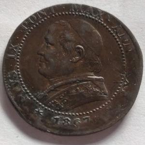 obverse: Zecche Italiane. Roma. Stato Pontificio. Pio IX 1 soldo 1867. Varietà decentrata.
