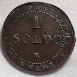 reverse: Zecche Italiane. Roma. Stato Pontificio. Pio IX 1 soldo 1867. Varietà decentrata.