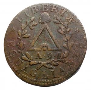 obverse: Zecche Italiane - Torino. Repubblica Piemontese. 1798-99.Due Soldi A 9 Contorno rigato obliruo. qBB.R.
