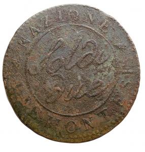 reverse: Zecche Italiane - Torino. Repubblica Piemontese. 1798-99.Due Soldi A 9 Contorno rigato obliruo. qBB.R.
