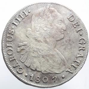 obverse: Estere.Cile .Santiago. Carlo IV (1788-1808), 8 Reales 1807; AR BB+.^^