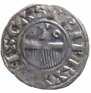 obverse: Estere. Francia. Thibaut II. 1125-1152. Denaro provisino. Ag. BB.^^