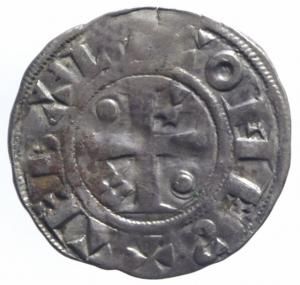 reverse: Estere. Francia. Thibaut II. 1125-1152. Denaro provisino. Ag. BB.^^