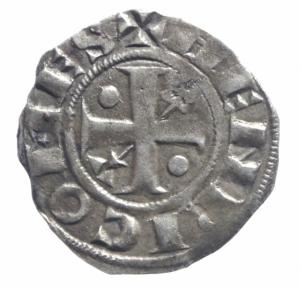 obverse: Estere. Francia. Provenza. Enrico II Conte 1180-97. Denaro Provisino. Mi. . BB.^^