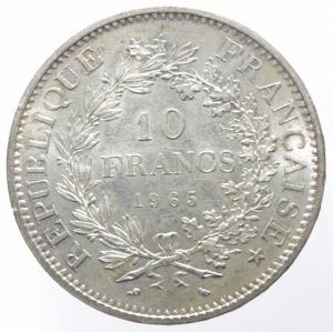 reverse: Estere. Francia. 1965. 10 Franchi. AG. Peso 25,10 gr. SPL. R.
