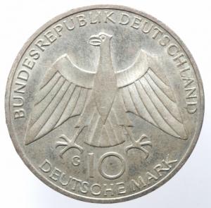 obverse: Monete Estere. Germania. Rep. Federale. 10 marchi 1972 G. AR. KM.135. qFDC.§