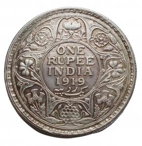 reverse: Estere - Inghilterra. India. Impero britannico. Giorgio V (1910-1936). Rupia 1919 AG. KM 524. Migliore di SPL. Fondi lucenti