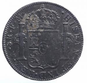 reverse: Estere. Messico.Carlo IV (1788-1808), 8 Reali, 1790; AR .BB+.^^