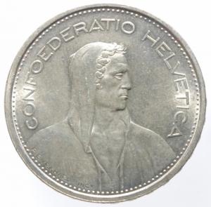 obverse: Monete Estere. Svizzera. 5 Franchi 1967. Ag. Peso 15,00 gr. qFDC.