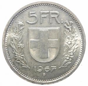 reverse: Monete Estere. Svizzera. 5 Franchi 1967. Ag. Peso 15,00 gr. qFDC.