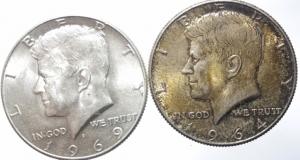 obverse: Estere.USA.Lotto di 2 monete da 1\2 dollaro 1964\69, mediamente BB+