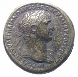 obverse: Medaglie.Medaglia imitativa ( Fake Coins) di sesterzio romano di Traiano,BB