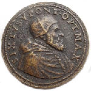 obverse: Medaglie - Papali di Restituzione. Sisto V. 1585-1590. Fusione Sec XVIII. gr 26,99. mm 36,25. Buona conservazione.