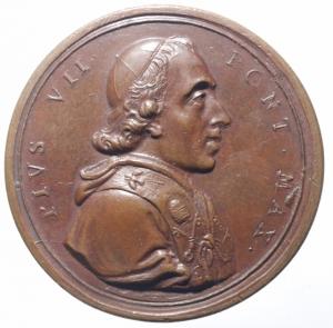 obverse: Medaglie Papali. Pio VII. 1800-1823. Barnaba Gregorio Chiaramenti. Visita a Perugia. AE. Medaglia coniata anno VI, 1805. CNORP (Bertuzzi) 69. Peso gr. 25,8. Diametro mm. 38,5. SPL.