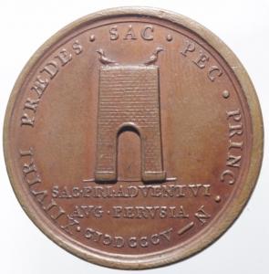 reverse: Medaglie Papali. Pio VII. 1800-1823. Barnaba Gregorio Chiaramenti. Visita a Perugia. AE. Medaglia coniata anno VI, 1805. CNORP (Bertuzzi) 69. Peso gr. 25,8. Diametro mm. 38,5. SPL.