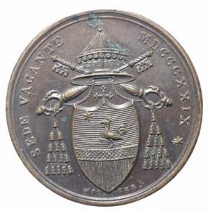 obverse: Medaglie . Sede Vacante 1829. Medaglia del Cardinale Camerlengo Pier Francesco Galleffi. Bo.92. AE. R. qFDC/FDC.