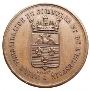 obverse: Medaglie - Francia. UNION VERSAILLAISES DU COMMERCE E DE L INDUSTRIE / FONDEE EN 1872. Ae. gr 8,38. mm 27,9. Migliore di SPL. Bella patina