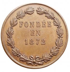 reverse: Medaglie - Francia. UNION VERSAILLAISES DU COMMERCE E DE L INDUSTRIE / FONDEE EN 1872. Ae. gr 8,38. mm 27,9. Migliore di SPL. Bella patina