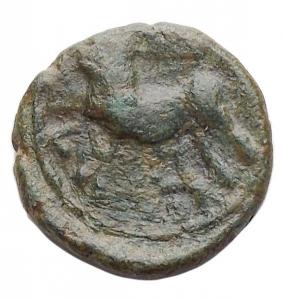 reverse: Mondo Greco - Sicilia. Erice? ca 300 a.C. AE.D/ Testa di ninfa a sinistra. R/ Cavallo a sinistra. Peso gr. 2,4. Diametro mm. 14,1.qspl/bb-spl.Bella patina verde.
