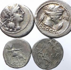 reverse: Lotti.Repubblica Romana.Lotto di 4 monete 2 denari, anonimo e Furia e 2 quinari, mediamente BB