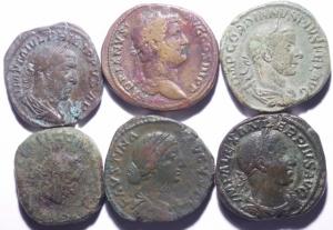 obverse: Lotti.Impero Romano.Lotto di 6 sesterzi in buone conservazioni da Adriano a Gallieno,mediamente BB\BB+