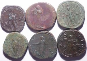 reverse: Lotti.Impero Romano.Lotto di 6 sesterzi in buone conservazioni da Adriano a Gallieno,mediamente BB\BB+
