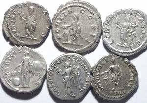 reverse: Lotti.Impero Romano.Lotto di 6 denari imperiali, da Traiano a Eliogabalo in buona conservazione, mediamente BB\BB+
