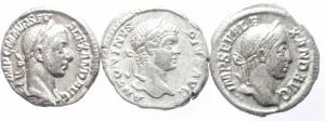 obverse: Lotti.impero Romano.Lotto di 3 denari imperiali,presenti Caracalla e Alessandro Severo,ag, mediamente BB\BB+.