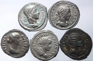 obverse: Lotti.Impero Romano.Lotto di 5 denari imperiali da Faustina II a Alessandro Severo,mediamente BB