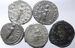 reverse: Lotti.Impero Romano.Lotto di 5 denari imperiali da Faustina II a Alessandro Severo,mediamente BB