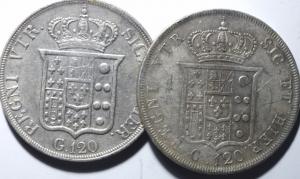 reverse: Lotti.Zecche Italiane.Lotto di 2 moneta da 120 grana Napoli.Mediamente BB.