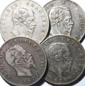 obverse: Lotti. Casa Savoia.Lotto di 4 scudoni di Vittorio Emanuele II.Mediamente BB\BB+