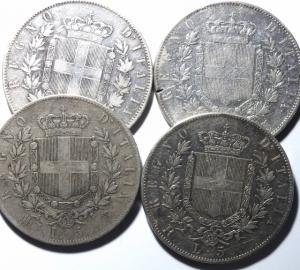 reverse: Lotti. Casa Savoia.Lotto di 4 scudoni di Vittorio Emanuele II.Mediamente BB\BB+