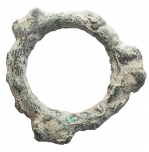 obverse: Celti - Moneta ad anello con tre coppie di globetti. Ae II-I secolo a.C. g 4,3. mm 25,4. Discrete condizioni