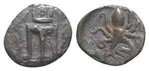 obverse: Bruttium, Kroton, c. 460-440 BC. AR Triobol (11.5mm, 0.88g, 6h). Tripod; grain ear to r. R/ Octopus. HNItaly 2154; SNG ANS 414. Near VF