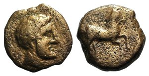 obverse: Carthaginian Domain, Sicily, 370-340 BC. Æ (12mm, 1.80g, 10h). Male head r. R/ Horse galloping r. SNG Copenhagen -; HGC 2, -. Rare, near VF