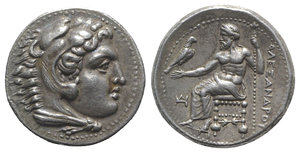 obverse: Kings of Macedon, Alexander III 'the Great' (336-323 BC). AR Tetradrachm (26.5mm, 17.00g, 1h). Miletos, c. 325-323 BC. Head of Herakles r., wearing lion skin. R/ Zeus Aëtophoros seated l.; monogram in l. field, thunderbolt below throne. Price 2087. Light scratches on obv., Good VF