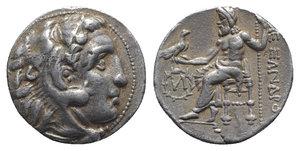 obverse: Kings of Macedon, Alexander III 'the Great' (336-323 BC). AR Drachm (17mm, 4.16g, 12h). Uncertain mint (Kolophon?). Head of Herakles r., wearing lion skin headdress. R/ Zeus Aëtophoros seated l.; in l. field, letter within wreath. Price -. Good VF