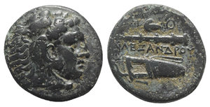 obverse: Kings of Macedon, Alexander III 'the Great' (336-323 BC). Æ (18mm, 6.09g, 3h). Tarsos, c. 327-3. Head of Herakles r., wearing lion skin. R/ Bow, quiver and club; grape and Θ above. Price 3029; SNG Copenhagen 1058. Green patina, VF