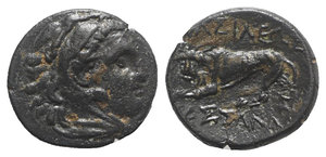 obverse: Kings of Macedon, Kassander (Regent, 317-305 BC, or King, 305-297 BC). Æ 1/2 Unit (14mm, 3.04g, 12h). Uncertain Macedonian mint. Head of Herakles r., wearing lion skin. R/ Lion standing l. breaking javelin with its jaws; A(?) below. Cf. SNG Alpha Bank 939. VF