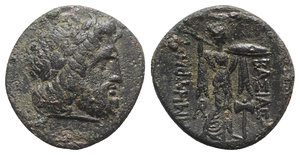 obverse: Kings of Macedon, Demetrios I Poliorketes (306-283 BC). Æ Unit (20mm, 4.64g, 12h). Uncertain mint in Caria(?). Laureate head of Zeus r. R/ Athena Promachos standing r., preparing to cast lance; AP monogram to inner l., labrys to inner r. Newell 166; SNG Alpha Bank –; Weber 2176. Roughness, near VF