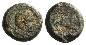 obverse: Anonymous, Southern Italy, c. 260 BC. Æ (19mm, 10.28g, 3h). Female head r., with ribbon in hair. R/ Lion r.; [ROMANO] in exergue. Crawford 16/1a; HNItaly 276; RBW 10. Green patina, Fair