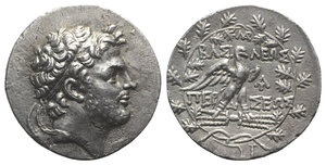 obverse: Kings of Macedon, Perseus (179-168 BC). AR Tetradrachm (31mm, 14.49g, 12h). Pella or Amphipolis; Au-, magistrate, c. 173-171 BC. Diademed head r. R/ Eagle standing r. on thunderbolt, with wings spread; monogram above and to r., control mark between legs; all within oak wreath; plow to lower r. Mamroth, Perseus 25; SNG München 1199. Toned, Good VF