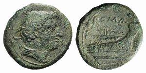 obverse: Anonymous, Rome, 217-215 BC. Æ Semuncia (21mm, 4.98g, 3h). Head of Mercury r., wearing winged petasus. R/ Prow r. Crawford 38/7; RBW 100. Green patina, Good Fine