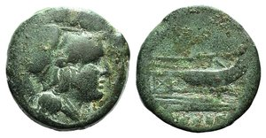 obverse: Anonymous, Uncertain mint, after 211 BC. Æ Triens (22mm, 9.30g, 2h). Helmeted head of Roma r. R/ Prow of galley r. Crawford 56/4. Green patina, Good Fine – near VF