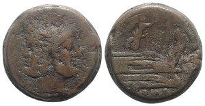 obverse: Victory series, Central Italy, 211-208 BC. Æ As (36mm, 52.79g, 9h). Laureate head of bearded Janus. R/ Prow of galley r.; above, Victory advancing r., holding wreath. Crawford 61/2; RBW 252. Brown patina, Fine - Good Fine