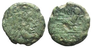 obverse: MP series, Uncertain mint, 211-208 BC. AR Victoriatus (17mm, 3.16g, 6h). Laureate head of Jupiter r. R/ Victory standing r., crowning trophy; MP monogram between. Crawford 93/1a; RSC 36h. Fine – Good Fine