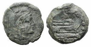 obverse: Butterfly and vine branch series, Rome, 169-158 BC. Æ Quadrans (18mm, 7.12g, 9h). Head of Hercules r., wearing lion's skin. R/ Prow of galley r.; above, butterfly on vine branch and before. Crawford 184/4; RBW 784. Rare. Green patina, near VF