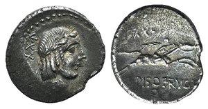 obverse: L. Calpurnius Piso Frugi, Rome, 90 BC. AR Denarius (19mm, 3.61g, 6h). Laureate head of Apollo r. R/ Horseman galloping r., holding palm branch and reins. Crawford 340/1; RSC Calpurnia 12. Edge slightly chipped, near VF