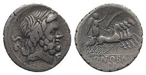 obverse: Q. Antonius Balbus, Rome, 83-82 BC. AR Serrate Denarius (19mm, 3.93g, 12h). Laureate head of Jupiter r.; control before. R/ Victory, holding wreath and palm frond, driving quadriga r. Crawford 364/1b; RBW -; RSC Antonia 1a. Toned, bankers  marks, near VF